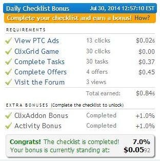 Clixsense_Daily_Checklist_Bonus