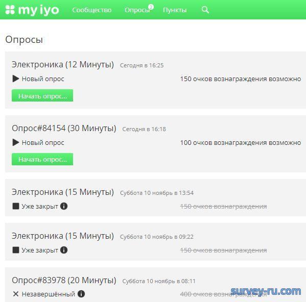 Опросы в Личном кабинете Myiyo