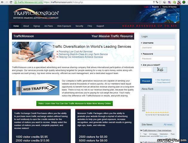 trafficmonsoon.com - главная страница